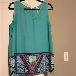 Teal and patterned sleeveless top
